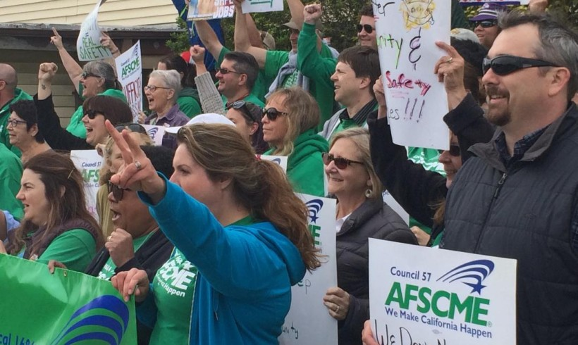 Union Workers Rally Outside Sempervirens